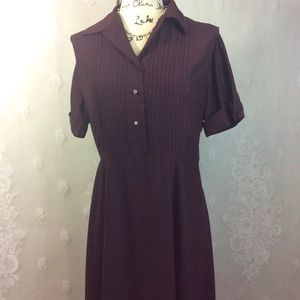 Vintage Jeanne Model Brown Pintuck Shirt Dress 14